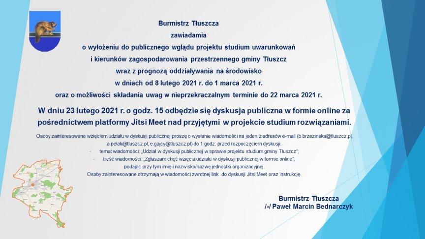 ogłoszenie wyłożeniy do publicznego wglądu projektu studium uwarunkowań i kierunków zagospodarowania przestrzennego gminy Tłuszcz
